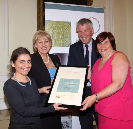 Minister for Arts, Heritage, and the Gaeltacht, Heather Humphreys, pictured with Michael Starrett, Chief Executive of the Heritage Council, at a presentation of an award for interim accreditation under the Museum Standards Programme for Ireland to Jenny Papassotiriou and Celine Kennedy of Dublin Castle State Apartments (OPW). Gary O'Neill.