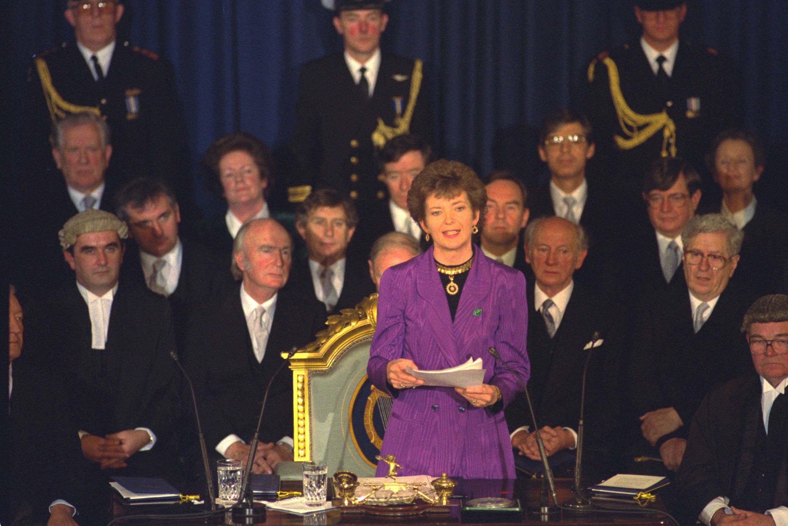 Mary Robinson during her acceptance speech in the 1990 ceremony