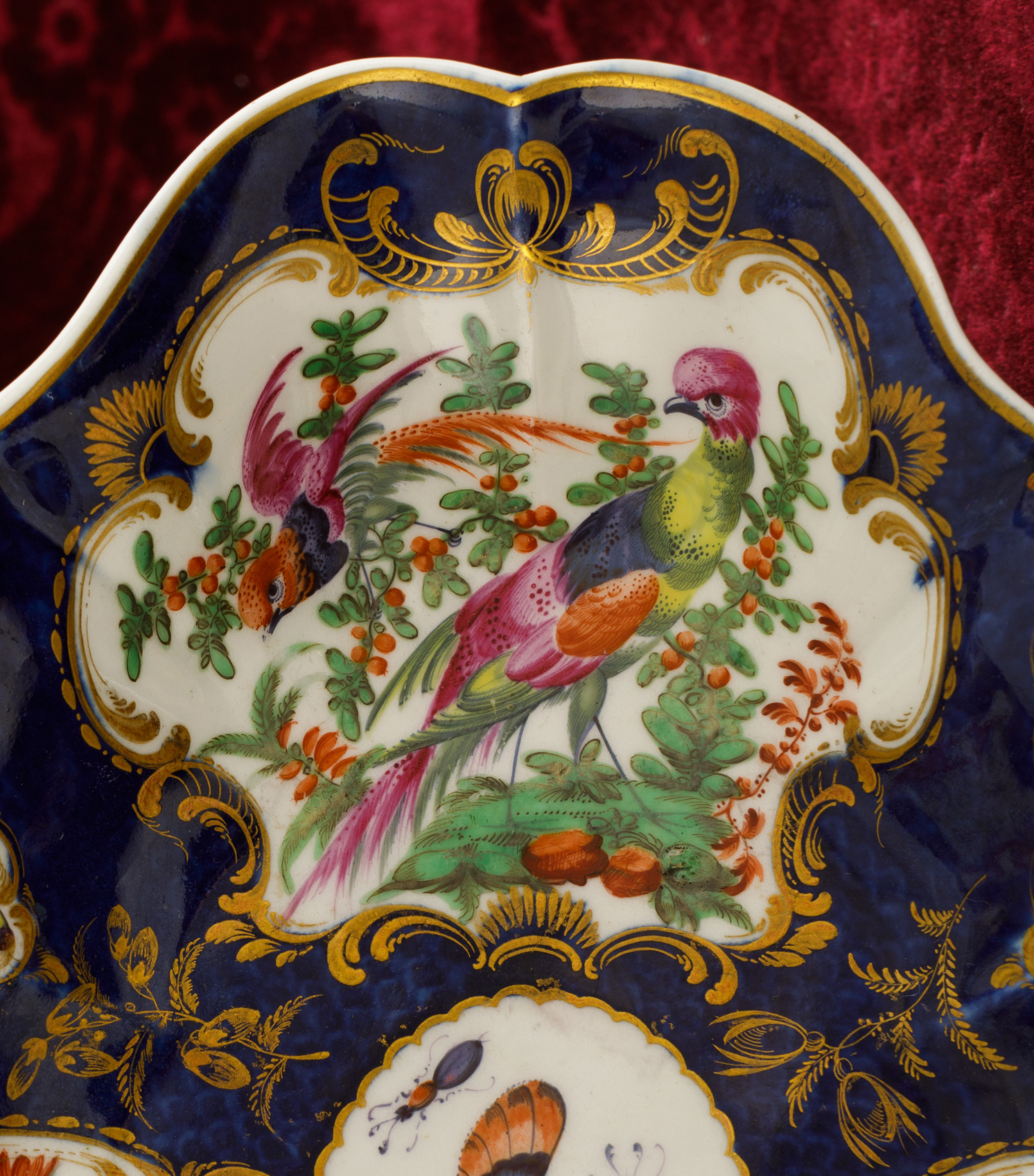 Detail of an oval dish decorated in the Lady Betty Cobbe pattern, soft-paste Worcester porcelain, Cobbe Collection