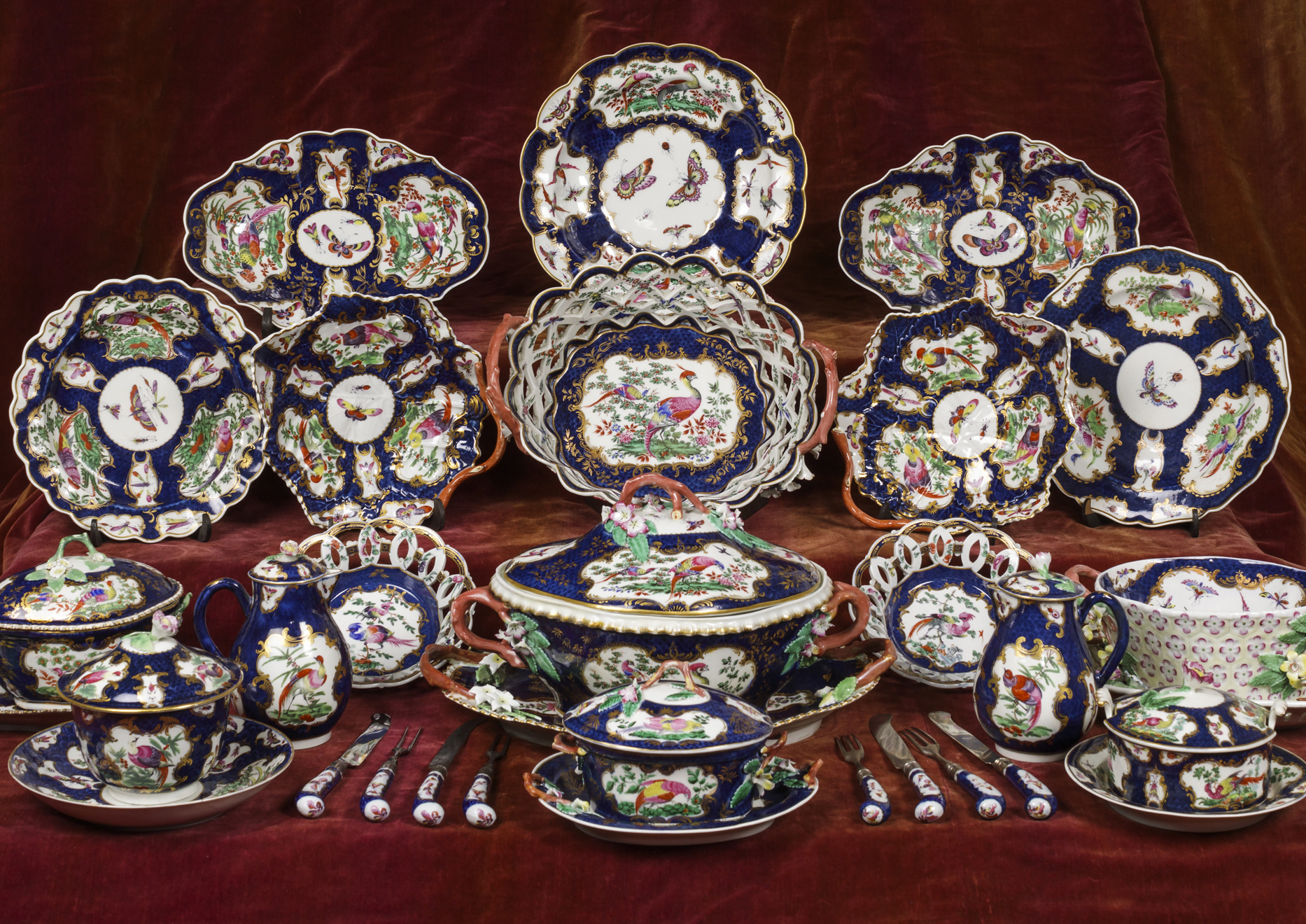 Dinner and dessert china decorated in the Lady Betty Cobbe pattern, soft-paste Worcester porcelain, Cobbe Collection
