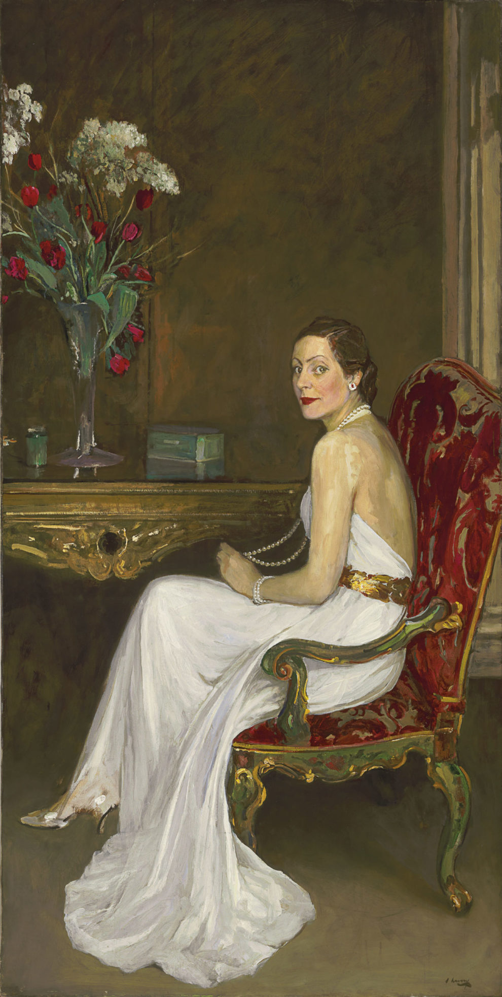 Sir John Lavery, The Lady in White, Viscountess Wimborne, 1939. Private collection.